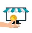 icon pc buy online design vector image