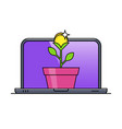 laptop with money plant in pot vector image vector image