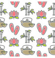 lotus and bamboo spa and beauty teapot and cup vector image