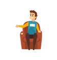 man sitting in the armchair male seller or buyer vector image vector image