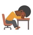 Man sleeping on table vector image vector image