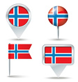 Map pins with flag of Norway vector image