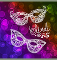 mardi gras carnival mask on bokeh background vector image vector image
