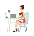 mom home working freelance business flat cartoon vector image