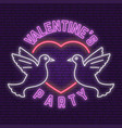neon sign banner for valentines day celebrate vector image