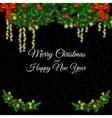 Postcard with Christmas tree garland light vector image