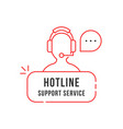 red thin line hotline support service logo vector image vector image