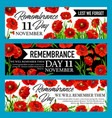 remembrance day lest we forget banner with poppy vector image vector image