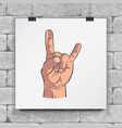 rock and roll hand sign hand-drawn icon horns up vector image vector image
