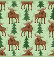 seamless pattern with moose and trees vector image vector image