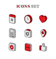 set digital icons outline colored vector image