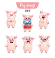 set of cute pig characters set 2 vector image