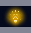 sign of a idea neon lamp on a dark background vector image vector image