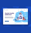 social media addiction landing page young people vector image vector image