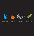 symbols of four elements - water fire air and e vector image vector image