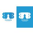 ticket and arrow up logo combination vector image