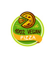 vegan pizza and food logo menu vector image vector image