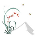 wild orchid sumi-e chinese painting gohua vector image vector image