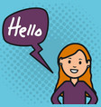woman and speech bubble with hello message vector image vector image