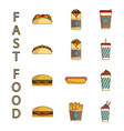ast food icons set vector image