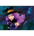 Poster Sexy Halloween witch in black hat and blue vector image