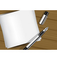 3d mock up realistic fountain pen on white paper vector image