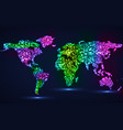 abstract world map of glowing particles vector image vector image