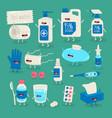 anticoronavirus set life saving items vector image