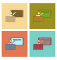 assembly flat icons table board teacher vector image vector image