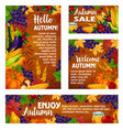 autumn harvest holiday poster and banner template vector image