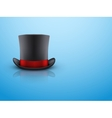 Black gentleman hat cylinder and red ribbon vector image vector image