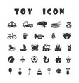 black toy icons isolated on white background vector image vector image
