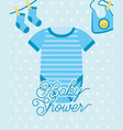 blue bodysuit and socks bib baby shower card vector image vector image