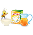 Cereal and orange juice for breakfast vector image