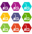 chimney and building of chemical plant icons set 9 vector image vector image