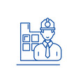 construction engineer line icon concept vector image vector image
