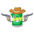 cowboy stack money shape cartoon on table vector image