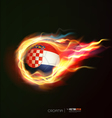 croatia flag with flying soccer ball on fire vector image vector image