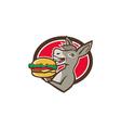 Donkey Mascot Serving Hamburger Oval Retro vector image vector image