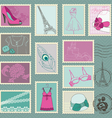 fashion stamp collection vector image vector image