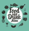 food and drink menu with different dishes vector image