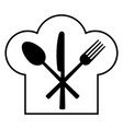 fork knife spoon and headdress of the cook vector image vector image