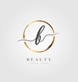 gold elegant initial letter type b vector image vector image