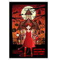 halloween invitation card design with a girl vector image vector image