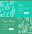 hand drawn wild cacti plants web banner vector image
