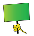 hand holding green board vector image