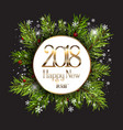 happy new year background with snowflakes and fir vector image vector image