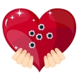 Heart with bullet holes vector image