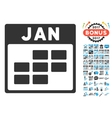 January Calendar Grid Flat Icon With Bonus vector image vector image