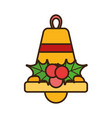 merry christmas bell holly berry celebration vector image vector image